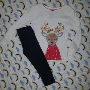 Black leggings & Reindeer long sleeved tee
